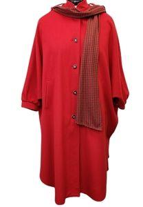 Vintage Troler Loden Red Cape Coat Wool Blend Size 42EU